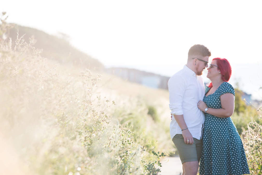 Whitstable engagement shoot | golden hour on Tankerton slopes | Rebecca Kathryn Photography www.rebeccakathryn.co.uk| Kent wedding photographer